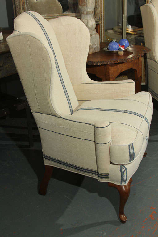 Pair wingback chairs in blue and white grainsack at 1stdibs