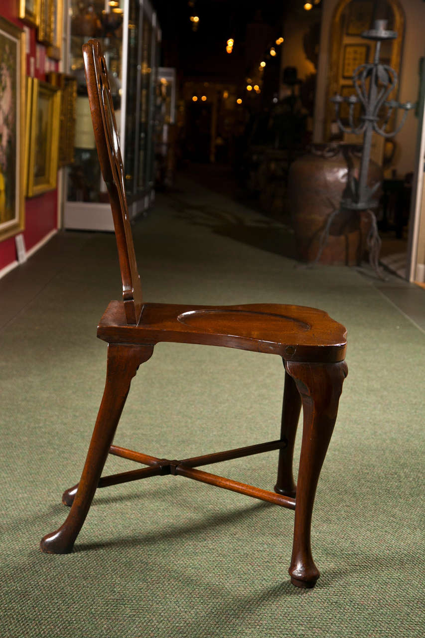 Mahogany Pair of George III Hall Chairs For Sale