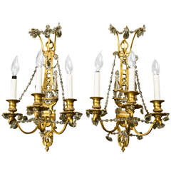 Pair of Bronze Dore Sconces