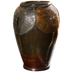 A Japanese Bronze Vase With Applied Lotus Leafs