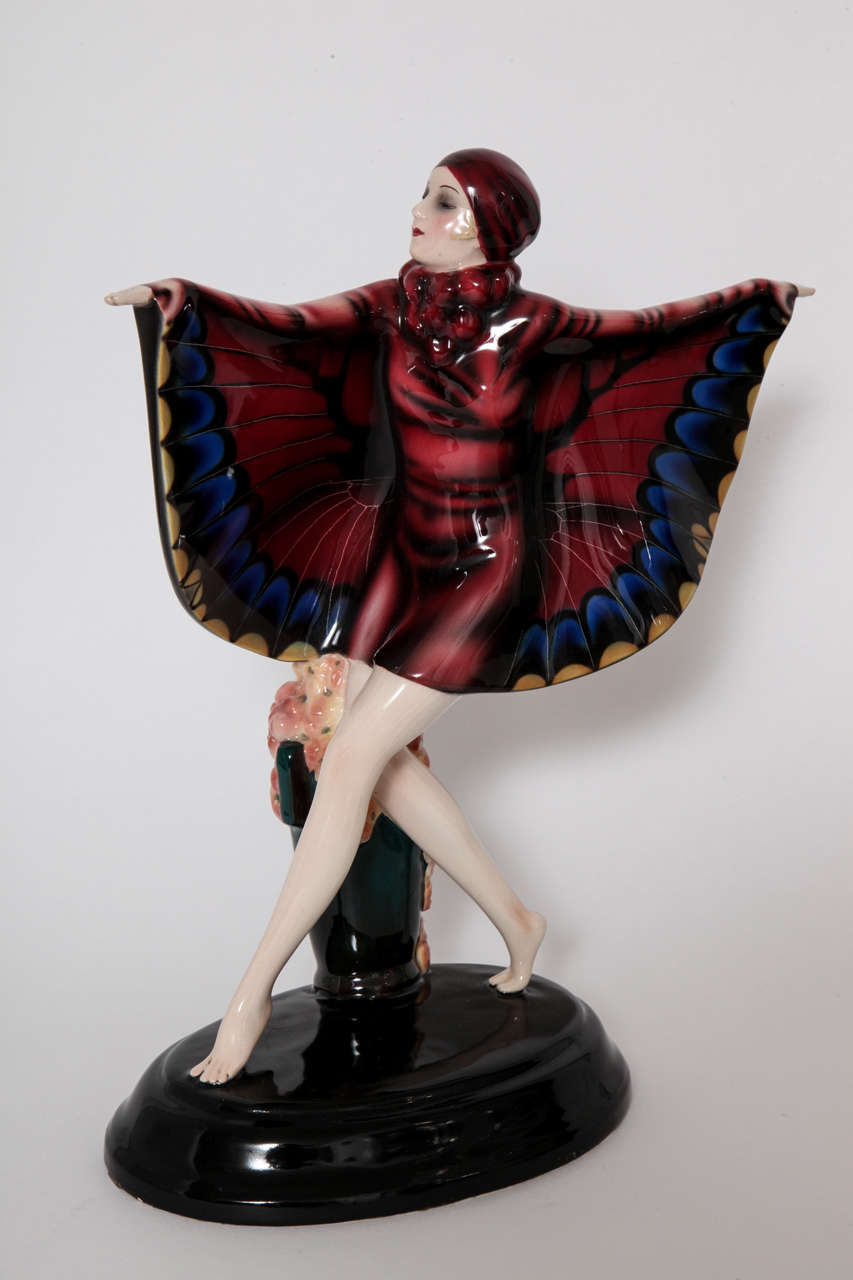 "Goldscheider Ceramic Art Deco "" Butterfly Girl"" designed by Josef Lorenzl, 1925 3"