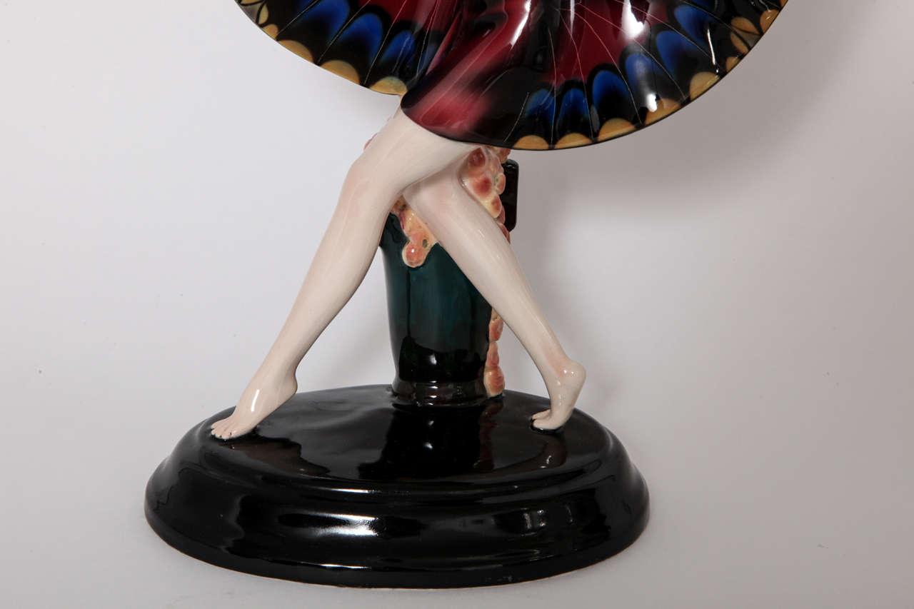 "Goldscheider Ceramic Art Deco "" Butterfly Girl"" designed by Josef Lorenzl, 1925 5"