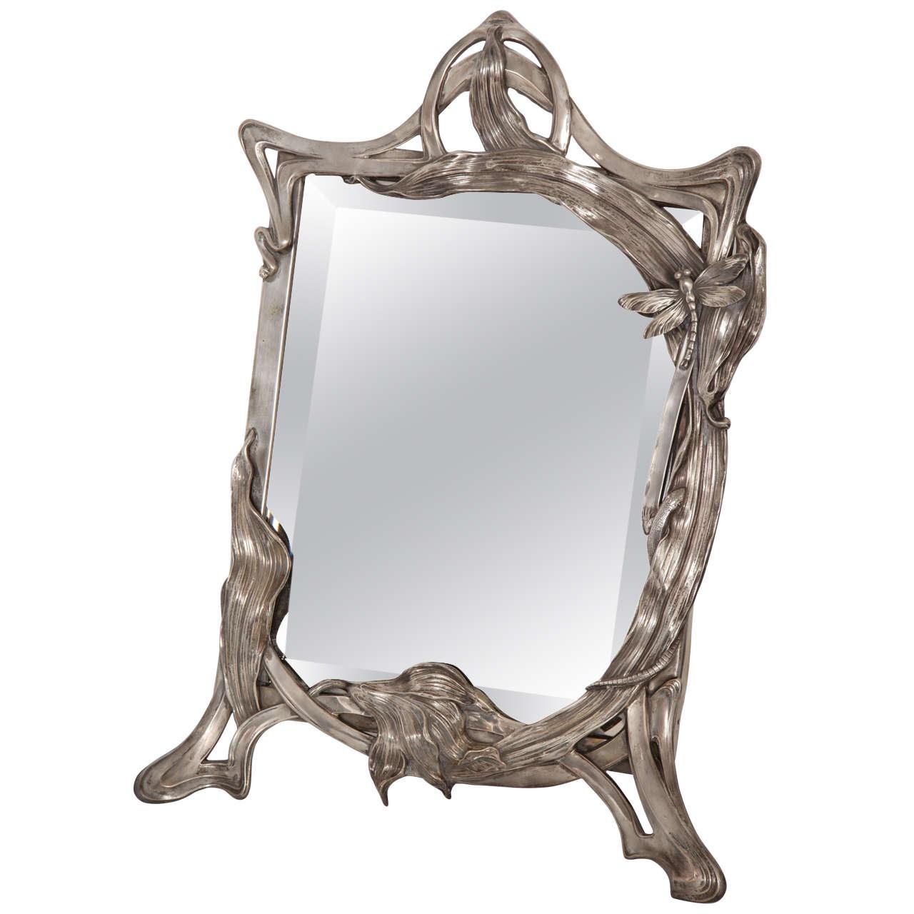 Art nouveau german silver table mirror at 1stdibs for Miroir art nouveau