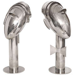 Pair of Franz Hagenauer Nickel Plated Bronze Heads