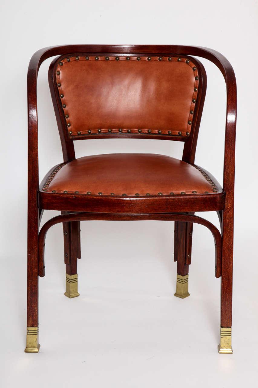 Austrian Vienna Secessionist Bentwood Chair Designed by Gustav Siegel For Sale