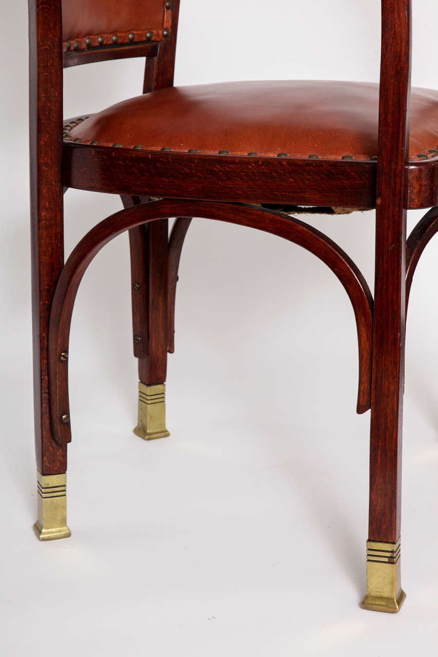 Vienna Secessionist Bentwood Chair Designed by Gustav Siegel For Sale 1