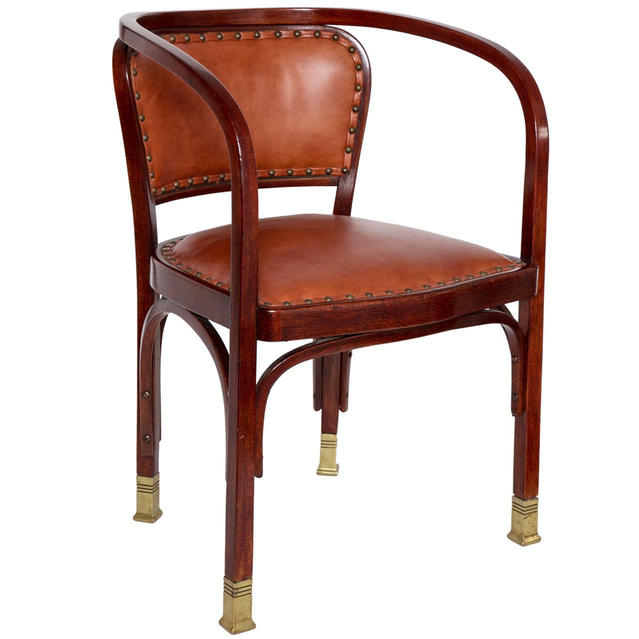 Vienna Secessionist Bentwood Chair Designed by Gustav Siegel 1