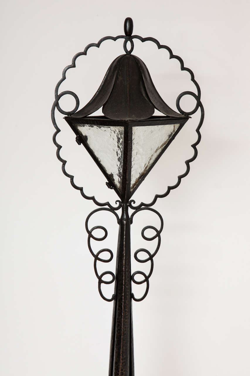 french art deco wrought iron floor lamp at 1stdibs. Black Bedroom Furniture Sets. Home Design Ideas