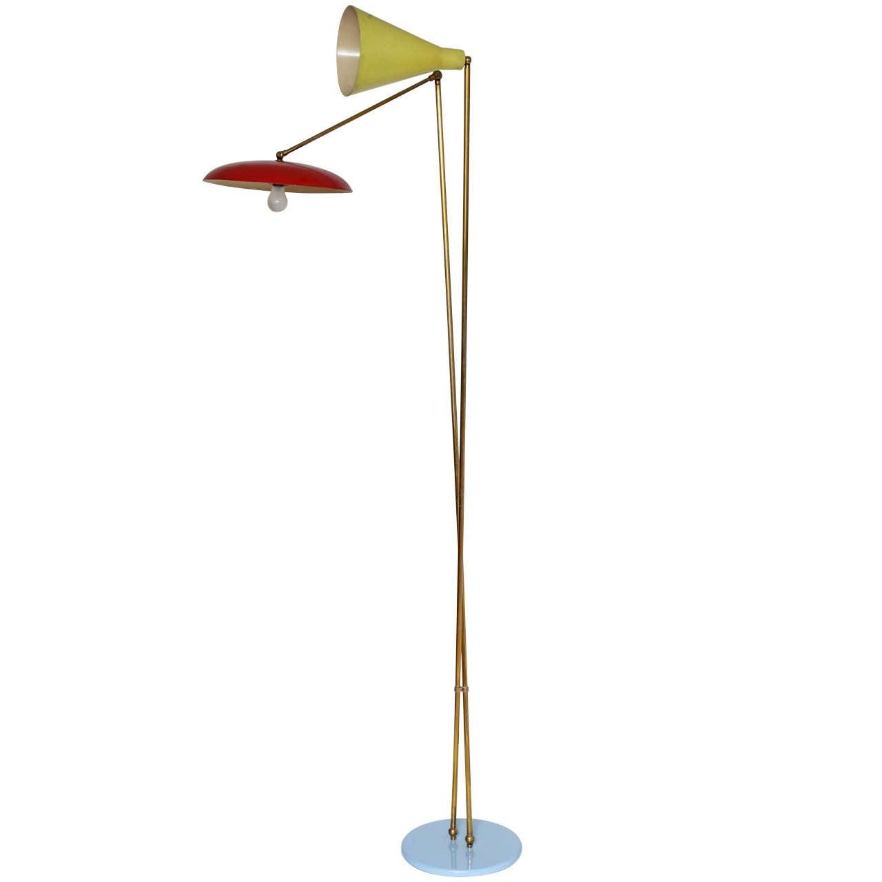 Stilnovo Italian Mid Century Modern Floor Lamp 1955 For