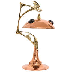 Art Nouveau Hand Hammered Copper, Brass and Glass Dragon Lamp