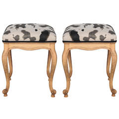 Pair of French Tabourets Upholstered in Camouflage