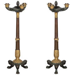 19th Century Bronze Candlesticks