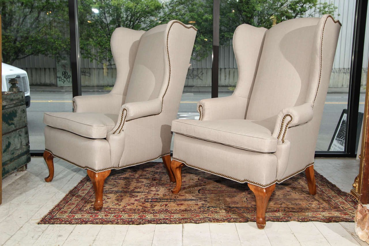 Delicieux Pair Wingbacks In New Grey Linen Upoholstery Trimmed In Nailheads. These  Chairs Have Great Lines