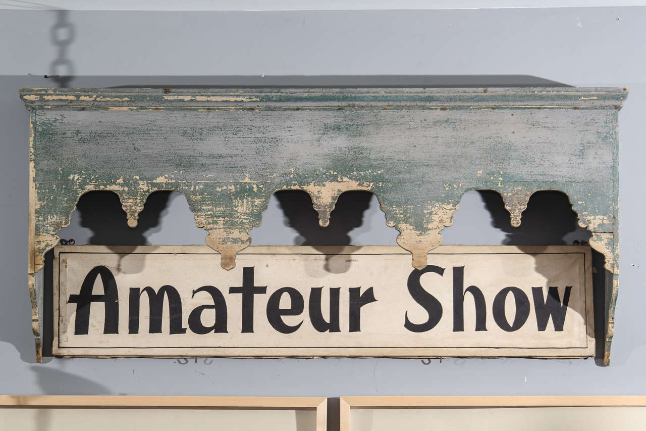 Beautiful old paint on this window cornice that is perfect as narrow console with a mirror or painting above . Would be charming over a twin bed as well.