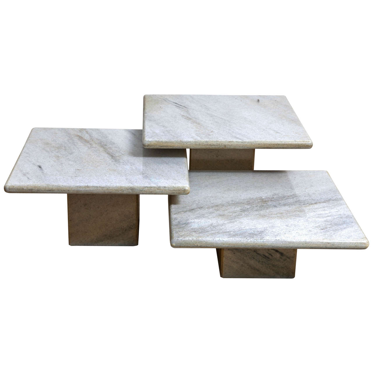 A Set Of 3 Italian Marati Midcentury Modern Marble Coffee,End Tables For  Sale