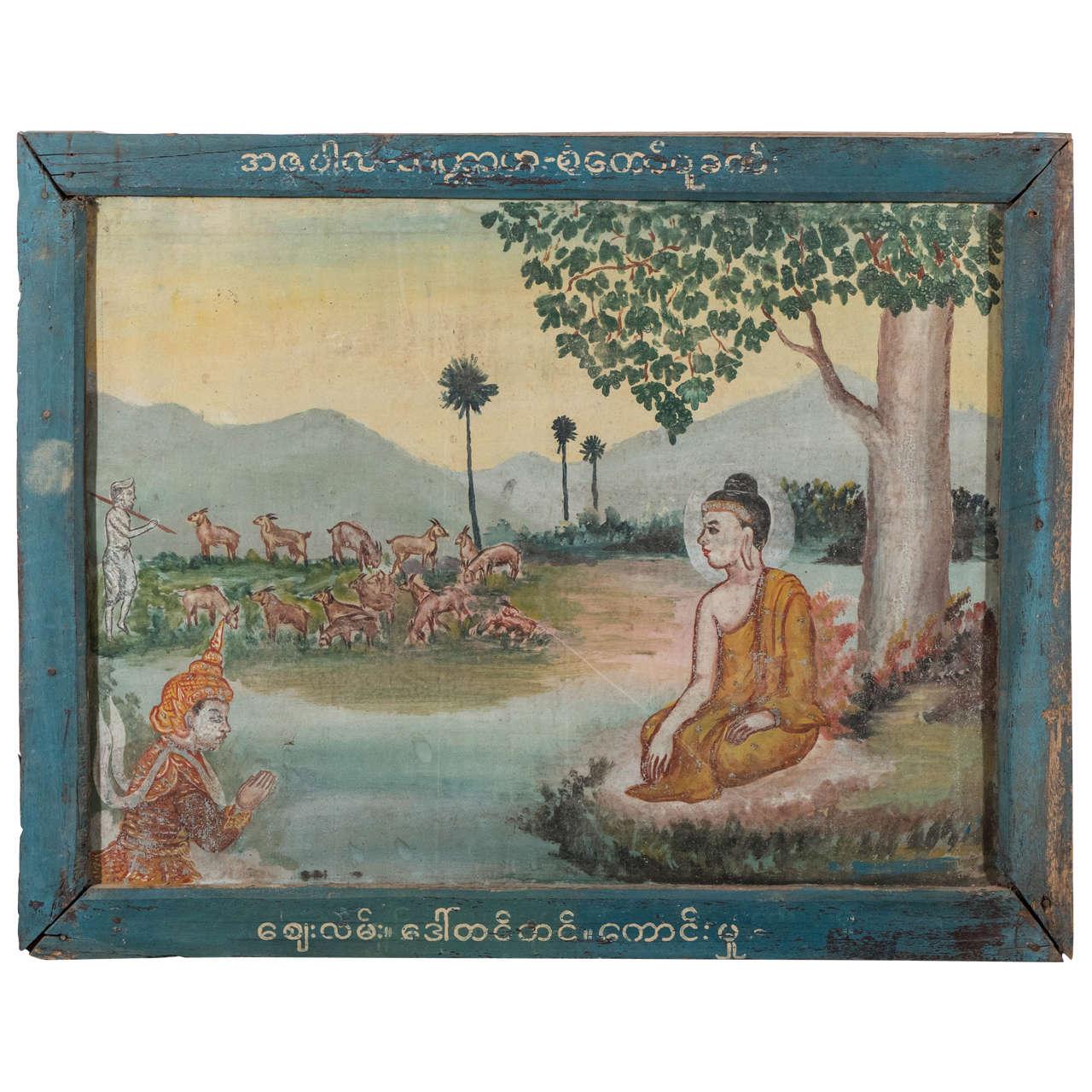 Burmese Temple Painting on Tin