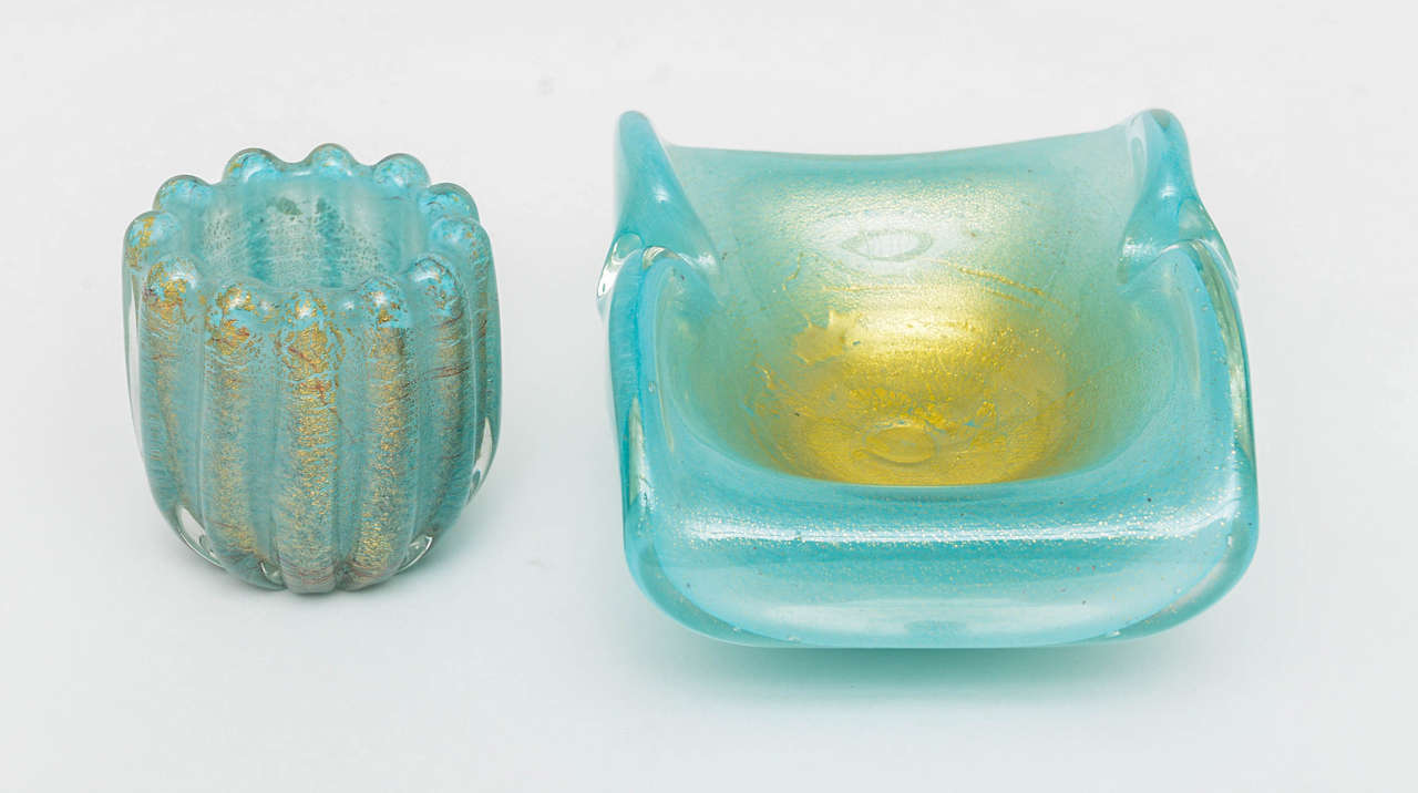 Azure and Gold Murano Ashtray and Cigarette Holder, Set of Two 2