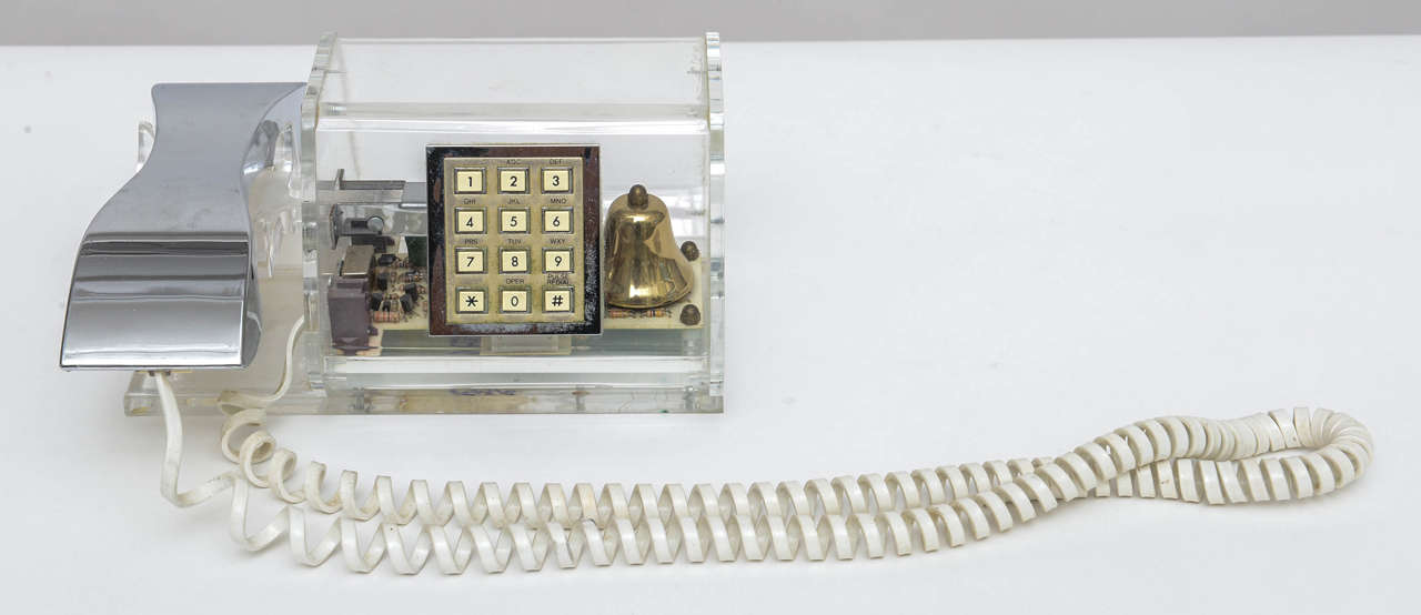 Mid-Century Modern Chrome & Lucite-Acrylic Push Button Phone by TeleConcepts