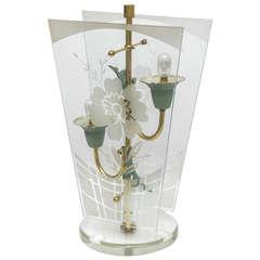 Art Deco Early Fontana Arte Brass Glass Table Lamp