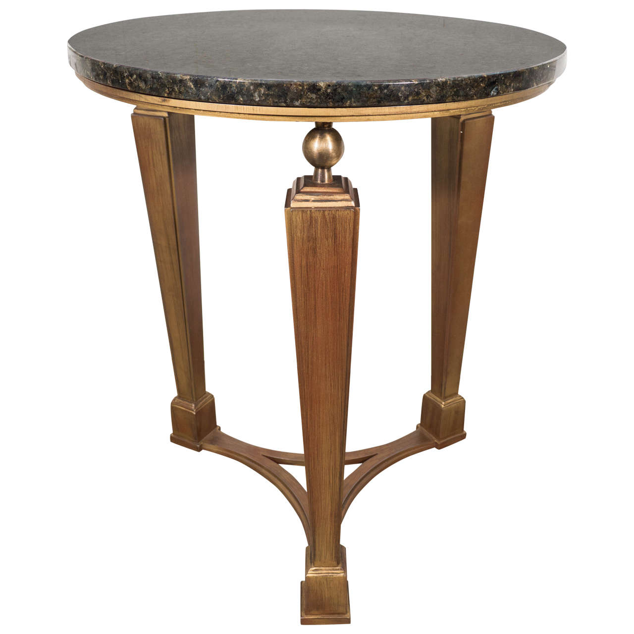 Circular Art Deco Inspired Three Legged Metal Side Table