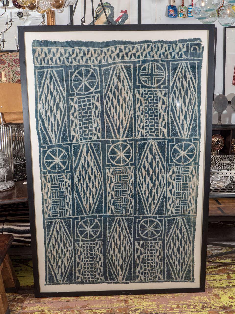Indigo hand dyed ceremonial cloth. Woven on narrow 19