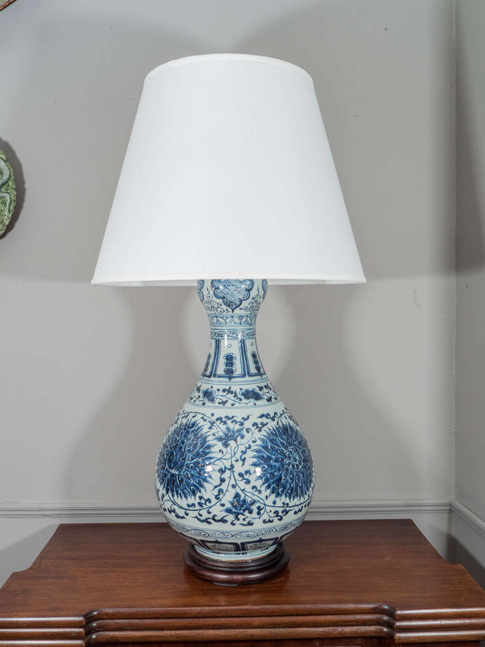 Pair of large blue and white porcelain gourd shaped lamps for O shaped table lamp