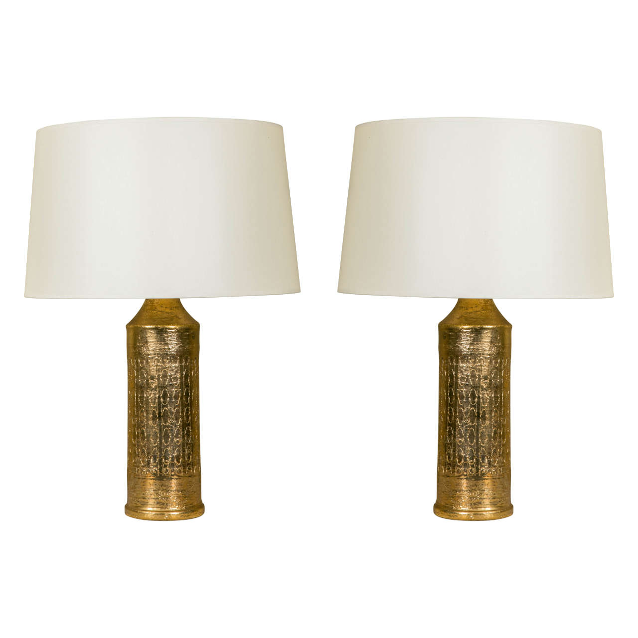 Pair Of Bergboms Gold Glazed Ceramic Table Lamps, Sweden, Circa 1960 1