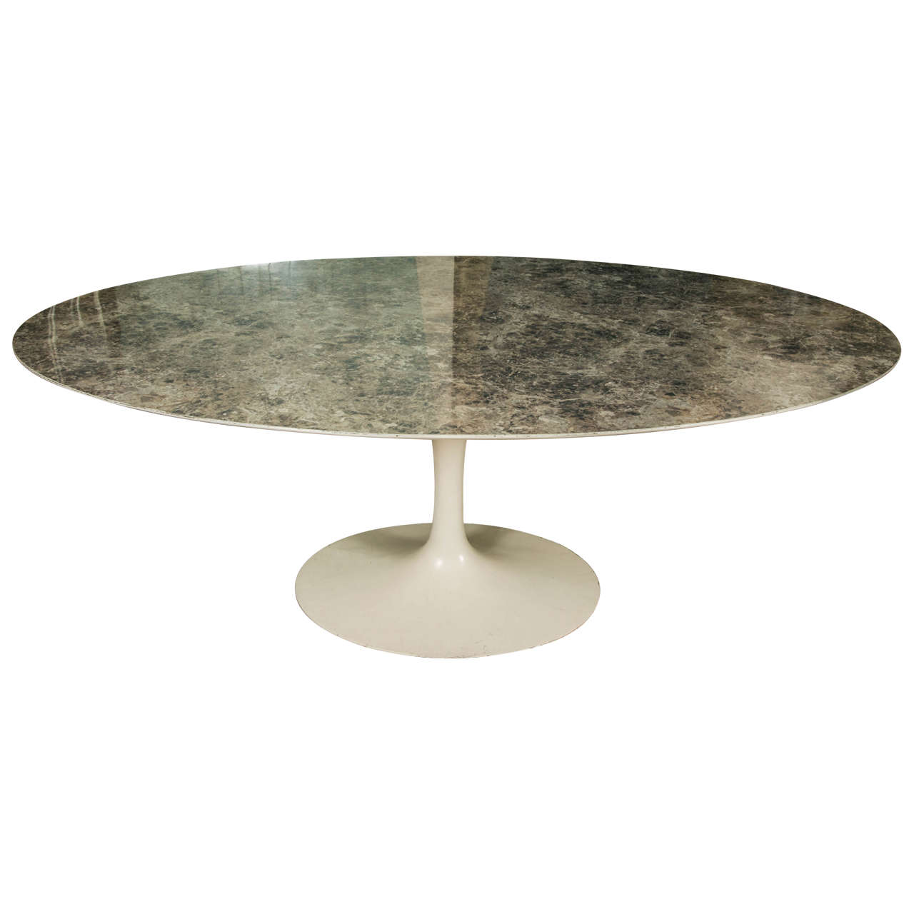 Large oval tulip dining table in grey laminate by eero for Tulip dining table