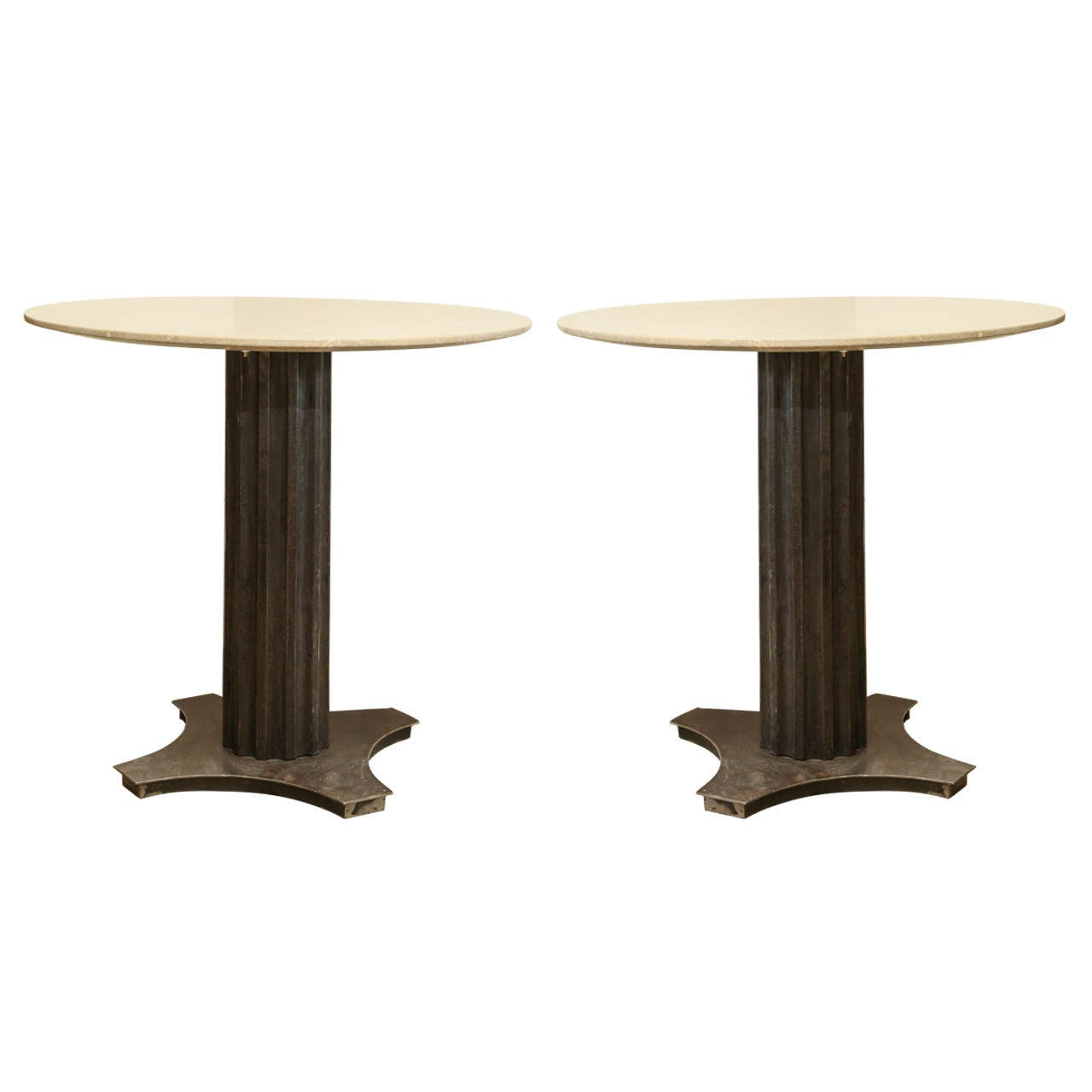 Two Fluted Iron and Stone Side Tables