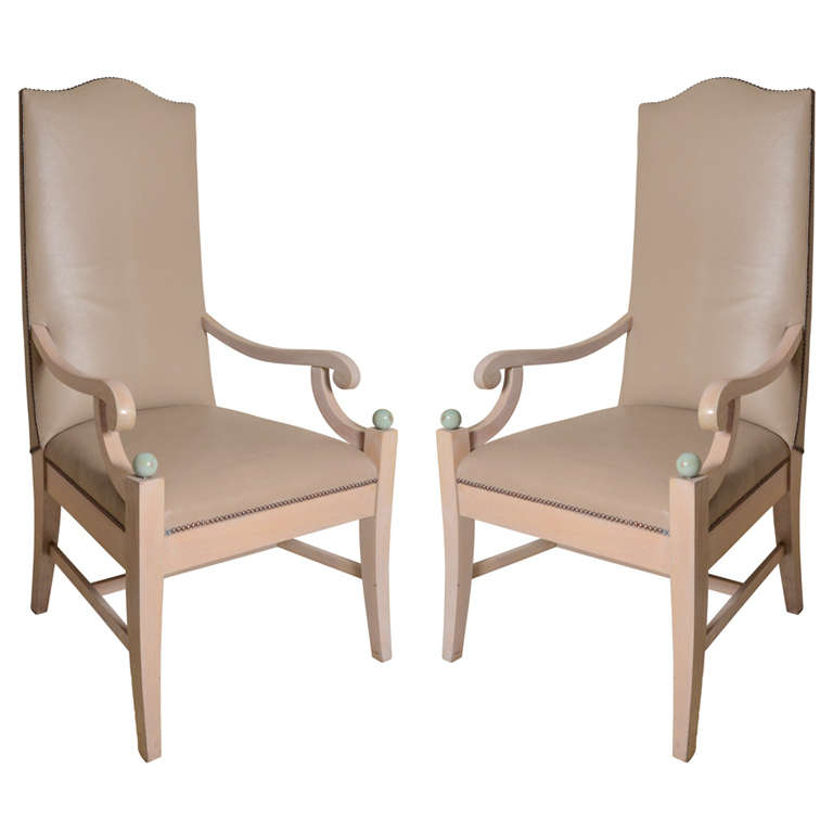 Continental Tall Back Leather Armchairs