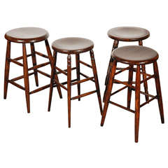 Group of Four Assorted Bar Stools In Natural Dark Stain Surface