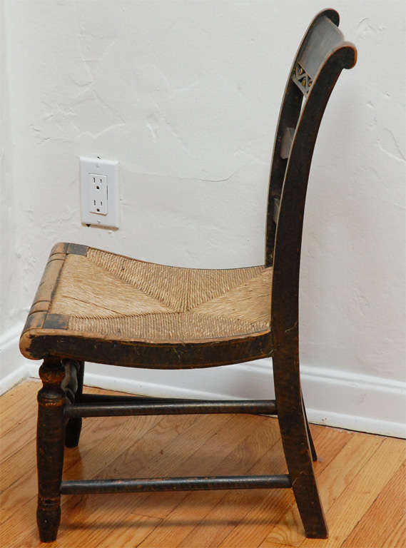 Early New England Decorated Childs Chair W Original Rush Seat At 1stdibs