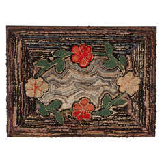 19th Century Rare Floral Hand Hooked Rug on Sretcher Frame from Pa