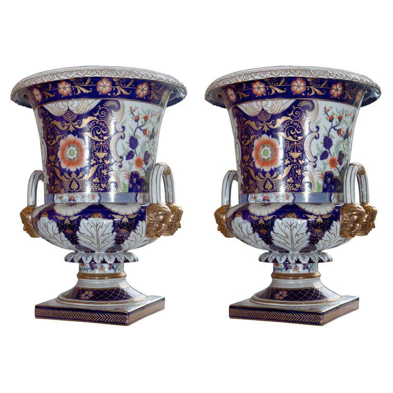 Magnificent Pair of Porcelain Urns