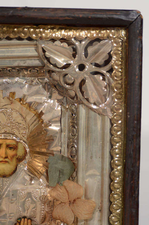 Antique Russian Icon of Saint Nicholas in Repousse Overlay In Distressed Condition For Sale In Stamford, CT