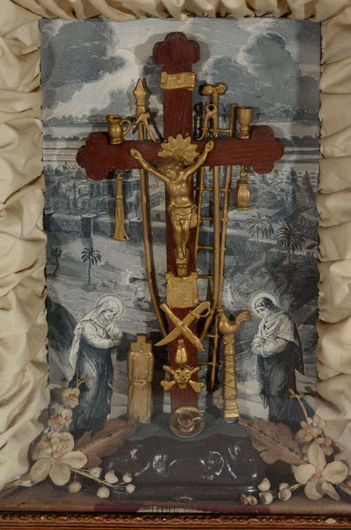 American Antique Victorian Religious Shadowbox with Crucifix Scene For Sale