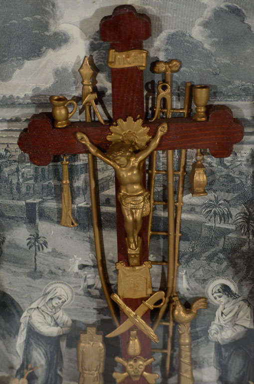 Mid-19th Century Antique Victorian Religious Shadowbox with Crucifix Scene For Sale