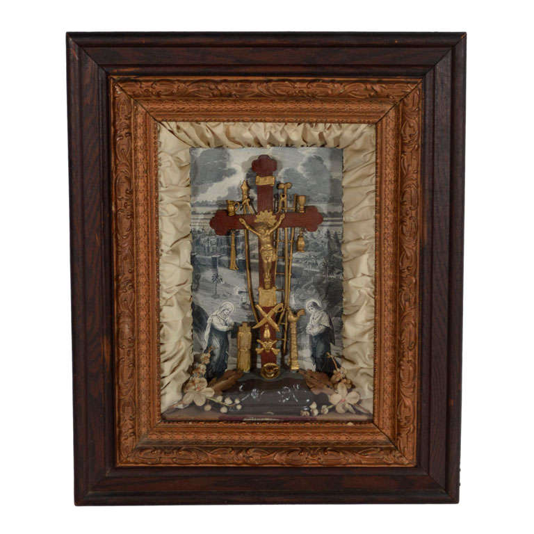 Antique Victorian Religious Shadowbox with Crucifix Scene For Sale