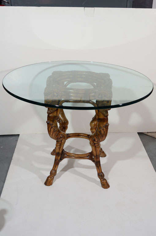 Exceptional rams head carved wood center table at stdibs