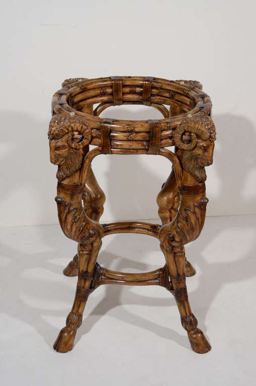 Beau 20th Century Exceptional Rams Head Carved Wood Center Table For Sale