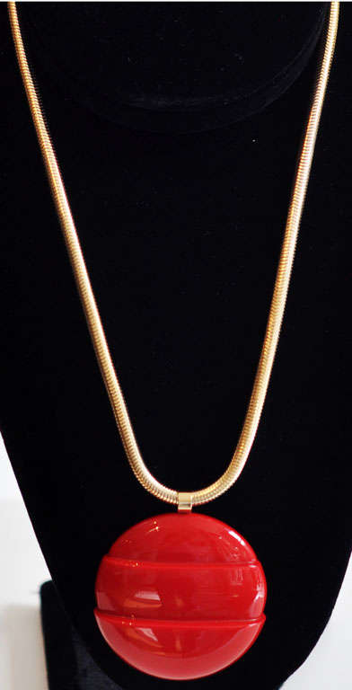 Modern Lanvin Architectural Necklace with Original Snake Chain, circa 1970 For Sale