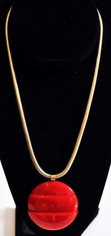 French Lanvin Architectural Necklace with Original Snake Chain, circa 1970 For Sale