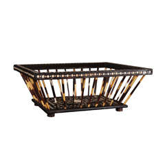 Anglo Indian Ebony Bone and Porcupine Quill Basket