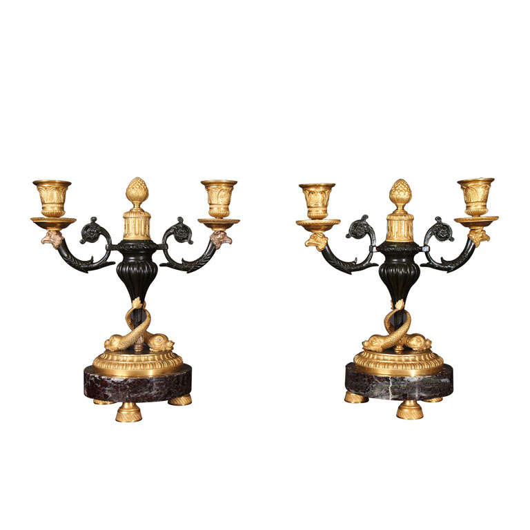 Pair Fine Louis XVI Style Gilt and Patinated Candelabra