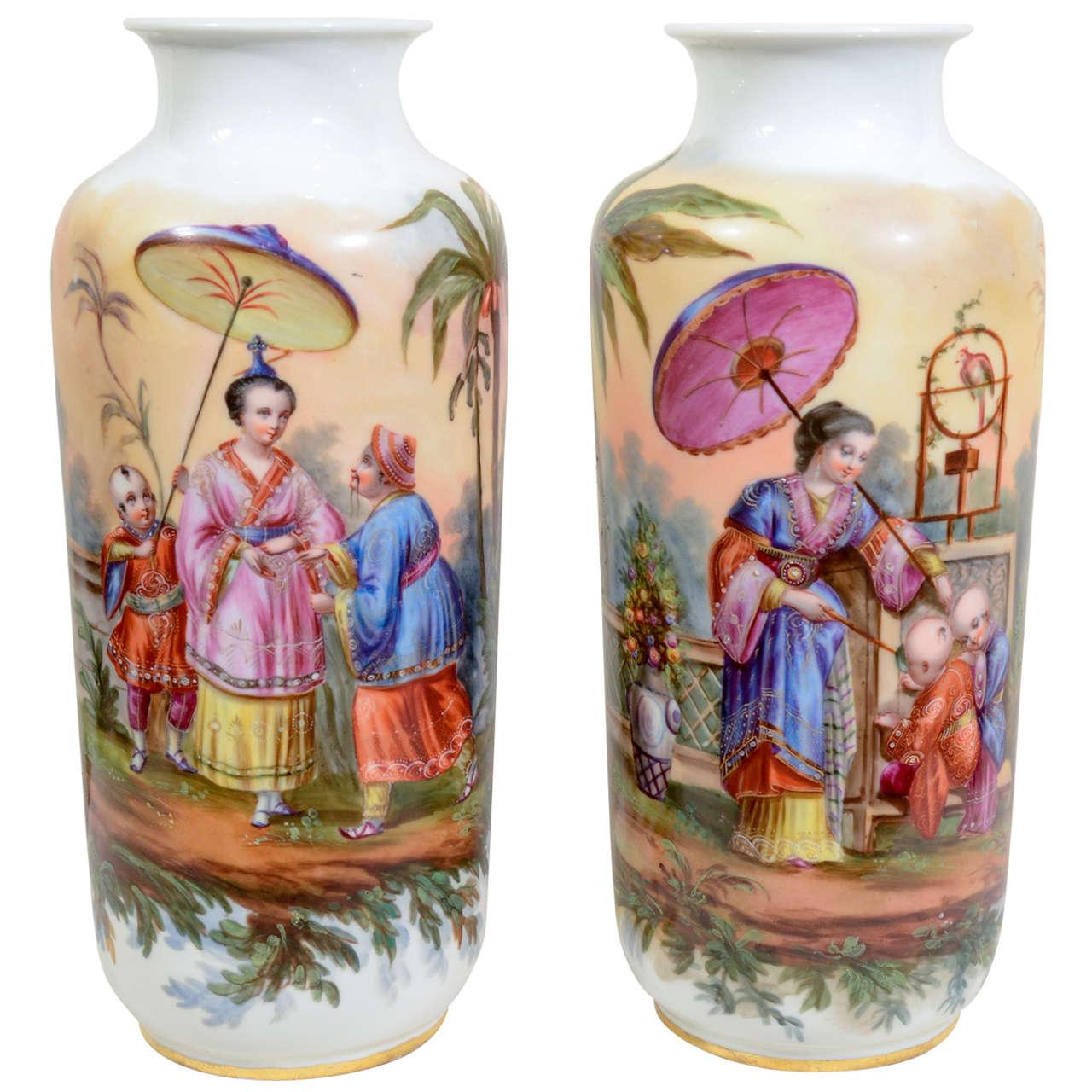 Antique Pair Porcelain Orientalist Vases