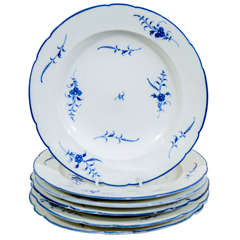 A Set of Dishes: A Dozen 18th Century Chantilly Blue and White Porcelain Dishes