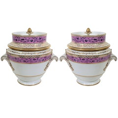 French Porcelain Ice Pails Lavender Pink