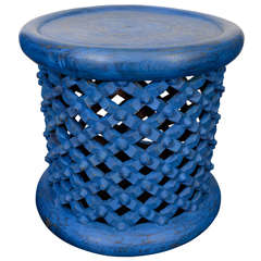Pair of Blue Painted Cameroon Stools