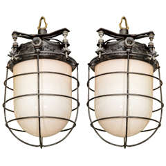 Pair of USA Ship Galley Caged Pendant Lights