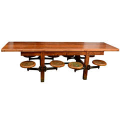 American Schoolhouse Table with Swivel Stools